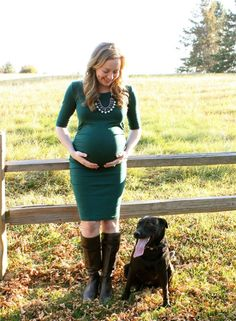 Maternity photo with family dog