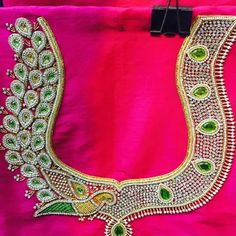 Check out the latest blouse design images. This will give you a better idea on which blouse design for your next saree purchase Peacock Blouse Designs, Pattu Saree Blouse Designs, Blouse Designs Silk, Bridal Blouse Designs, Sari Blouse, Saree Dress, Hand Work Blouse Design, Maggam Work Designs, Back Neck Designs