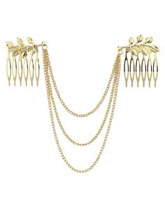 Gold Plated Alloy Chain Hair Comb