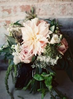Blush Dahlia Bouquet | photography by Judy Pak. http://flyawaybride.com/cafe-au-lait-dahlias/