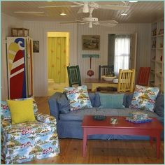 Vintage beach cottage interior- so colorful!
