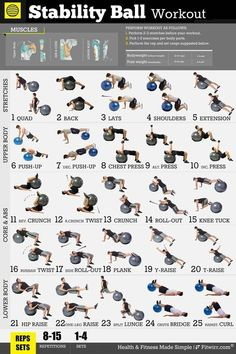 Get in shape and feel amazing with our exercise ball workouts. Our Stability Ball Workout poster will give you the tools to achieve the healthy, energetic personal fitness body transformation most men… Daha fazlası Fitness Workouts, At Home Workouts, Fitness Tips, Fitness Motivation, Trainer Fitness, Fitness Ball Exercises, Simple Workouts, Yoga Ball Workouts, Workout Fitness