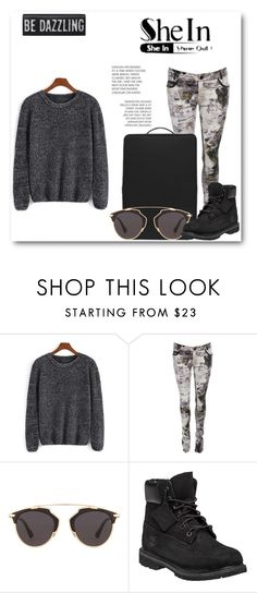 """""""blackie"""" by aclarinta ❤ liked on Polyvore featuring Christian Dior, Timberland, women's clothing, women's fashion, women, female, woman, misses, juniors and black"""