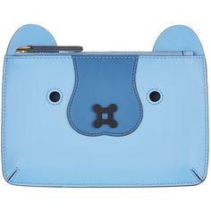 Anya Hindmarch Leather Husky Loose Pocket (1,065 MYR) ❤ liked on Polyvore featuring bags, handbags, leather hand bags, genuine leather purse, blue handbags, pocket handbag and leather man bags