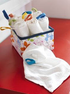 KRAMA soft cotton washcloths have colorful loops that are convenient for hanging them up to dry.