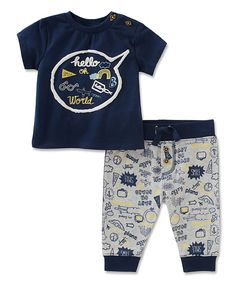 Take a look at this Absorba Navy 'Hello World' Tee & Pants - Infant today!