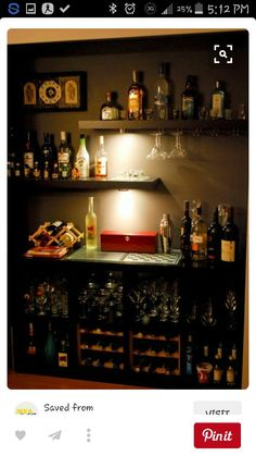Cool diy bar from ikea hackers- like the wall shelves. You could use it for a wine bar, or something non alcohol related as well. Diy Bar, Bar Sala, Lack Shelf, Home Bar Decor, Bar Home, In Home Bar Ideas, Mini Bar At Home, Home Bar Setup, Home Bar Designs