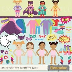 Build your own superhero clip art set, perfect for use in cards or invitations. You design the superhero, pick from different dolls, outfits, emblems... so many different possibilities! Set includes 4 different paper dolls, 4 sound effects, word and thoug...