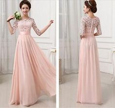 Womens-Half-Sleeve-Lace-Chiffon-Long-Maxi-Evening-Cocktail-Party-Wedding-Dress