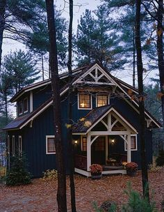 PineRidge Timberframe - Newbury blue navy ivory trim cabin in woods