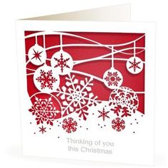 Christmas Card Laser Cut Baubles Thinking Of You Red - cards & wrap