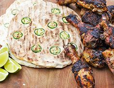 Levi Roots-stylee jerk chicken and jalapeno breads