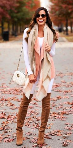#winter #outfits white long sleeve top and brown jeans outfit