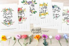 Printable Wisdom Calendar 2015, Inspirational quotes printable 2015 calendars, quote art print, month year desk watercolor calendar