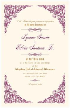 Sample wedding invite from Vistaprint