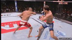 GIF of Vitor Belforts spinning heel kick to the head KO of Luke Rockhold
