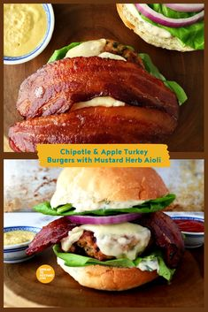 Chipotle and Apple Turkey Burgers, these are moist and flavourful burgers the whole family is sure to love. #Spreadthemustard #AppleBurger #Aioli