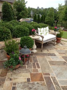 stone patio + bench