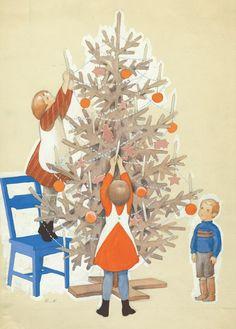 Vintage Ruldolf Koivu Christmas Card ~ Orange Accents