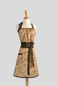 Cute Kitsch Retro Apron . Full Kitchen Womens Apron Handmade  Fall Thanksgiving Apron in Brown and Lime Green Paisley Print. $37.00, via Etsy