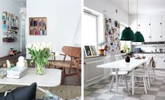 love the grey & white kitchen floor! design attractor: Cute Apartment in Malmö