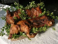 Procceddu - Typical Sardinian food. It is a young pig grilled generally served in large trays of cork with myrtle leaves. Sardegna ITALY