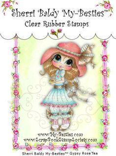 My-Besties Clear Rubber Stamp Big Eye Besties Big Head Dolls Gypsy Rose Tea By Sherri Baldy