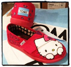Hello Kitty Custom Tiny Toms Shoes by CustomTOMSbyJC on Etsy, $59.00 - wish they fit me...