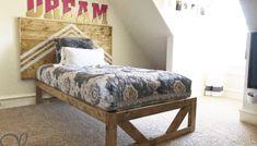 Easy DIY Platform Bed - Shanty 2 Chic Diy King Bed Frame, Twin Size Bed Frame, Platform Bed Base, Modern Platform Bed, Bude, Diy Play Kitchen, Bedding Inspiration, Bed Plans, King Beds