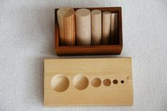 Matching and patterns.  This task is very similar to the Montessori knobbed cylinders.  This is a fun blog, if you don't mind reading the computer's translation from the German