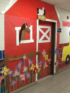Farm. Barn. School classroom door decoration.