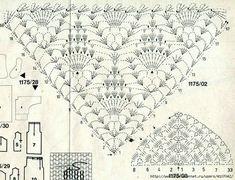 Crochet Shawl Diagram, Crochet Motif, Crochet Doilies, Crochet Lace, Crochet Stitches, Free Crochet, Shawl Patterns, Knitting Patterns, Crochet Patterns