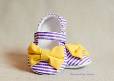 Fabric baby shoes baby girl shoes purple and ♥ by handmadebyzuzana, $20.95