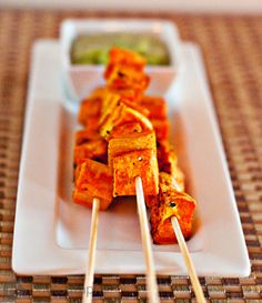 Roasted Sweet Potato Cube Skewers with a Cilantro-Jalapeno AioliDip