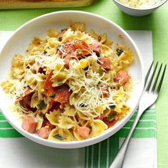 Muffuletta Pasta Recipe -A friend gave me this recipe when she learned that I love muffuletta sandwiches. Very rich and filling, this easy skillet supper goes together quickly on a busy weeknight. Serve with some cheesy garlic bread. —Jan Hollingsworth, Houston, Mississippi