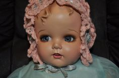 STUNNING RESTORED 21 Inch Miracle on 34th Street Composition Baby Doll BLUE eyes