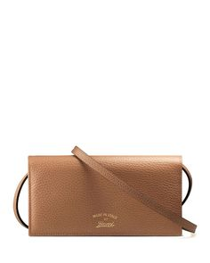 Gucci Swing Leather Wallet with Strap, Camel/Blue