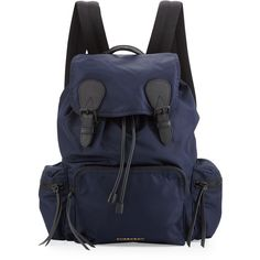 Burberry Large Technical Nylon & Leather Rucksack ($1,250) ❤ liked on Polyvore featuring men's fashion, men's bags, men's backpacks, navy and mens leather backpack