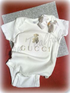 gucci onesie. gucci inspired short sleeve onesie size 3t, gerber brand with matching hair bow. ready2ship
