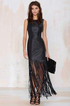 Nasty Gal Dominate Fringe Leather Dress