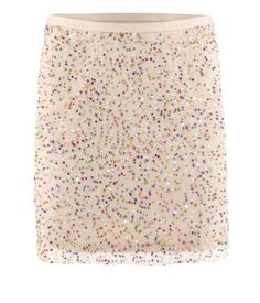 Multi-colored confetti sparkler skirt.