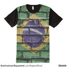 Brazil national flag painted on a brick wall All-Over-Print T-Shirt - Visually Stunning Graphic T-Shirts By Talented Fashion Designers - #shirts #tshirts #print #mensfashion #apparel #shopping #bargain #sale #outfit #stylish #cool #graphicdesign #trendy #fashion #design #fashiondesign #designer #fashiondesigner #style