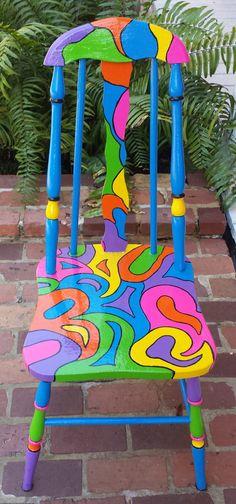 Pintado a mano OOAK silla personalizada colorido por PinkOkra