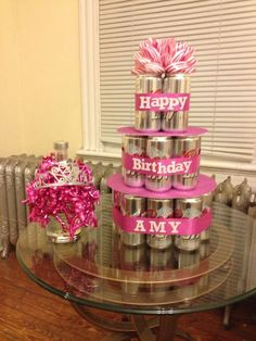DIY Beer Cake for females Birthday 21st Bday Ideas, 21st Birthday Decorations, Make Birthday Cake, Birthday Parties, 21st Birthday Gifts For Girls, 21 Birthday, Beer Can Cakes, Cake In A Can, Alcohol Cake