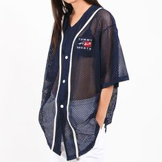 Vintage 90s Tommy Hilfiger mesh jersey