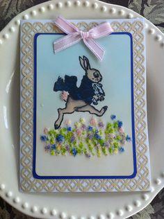 Easter Card, Tim Holtz stamp, Martha Stewart punch.