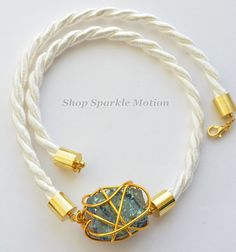 Items similar to White Rope Gold Plated Crystal Quartz Wrapped Necklace White Rope, Crystal Collection, Dinosaurs, Quartz Crystal, Sparkle, Crystals, Bracelets, Gold, Leather
