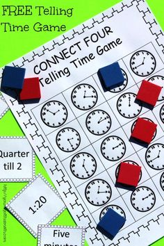 Want to practice telling time with a fun hand on game? Check out this freebie that is similar to connect four with a little twist.