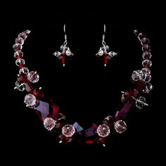 Red Jewelry Sets | WFDNE-8548-Red_Red_Necklace_Earring_Set_8548_0.jpg