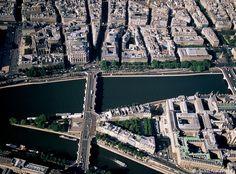 Extrémité Ouest de l'Ile de la Cité, avec le Pont Neuf et le square du Vert Galant.